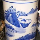 BIG CYLINDER BLUE WHITE VASE CHINA HOME DECOR DOOR DECORATIVE COLLECTIBLE VINTAGE