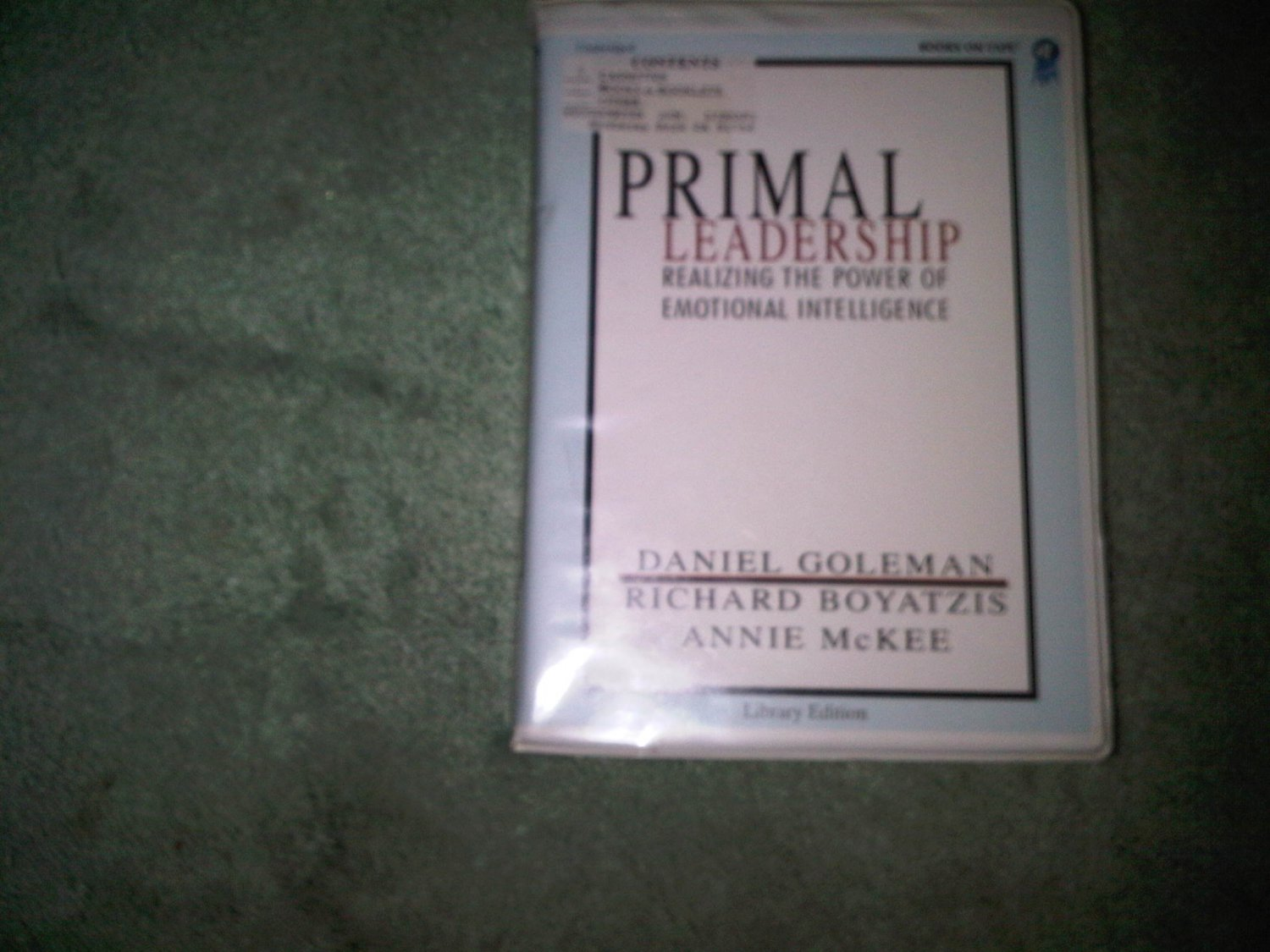 PRIMAL LEADERSHIP POWER EMOTIONAL INTELLIGENCE casette audio book books home education SELF-HELP