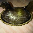 VINTAGE GREEN GLASS CHICKEN CANDY HOLDER 1950'S FAMILY HOME DECORATIVE COLLECTIBLE FIGURINE KITCHEN