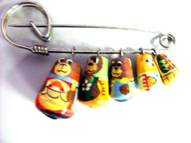 goldilock Russian Nesting Doll Pin Pins Gift Teacher decorative collectible figurine Matryoshka