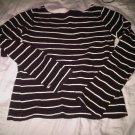 TOMMY HILFIGER BLACK WHITE STRIPE RIBBED SWEATER WOMEN'S CLOTHING CLOTHES SZ S SMALL