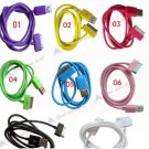 1PC USB Data Cable Color Cord for Ipod Iphone 3G 3GS 4G 8 Colors electronic mp3