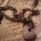 diamond faux heart pendant necklace VINTAGE JEWELRY WOMEN'S FASHION CLOTHING ACCESSORY