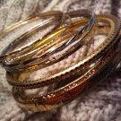india lot 7 bangles bracelet gold tone VINTAGE JEWELRY WOMEN'S FASHION CLOTHING ACCESSORY
