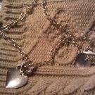 silver heart necklace bracelet set lot 2 VINTAGE JEWELRY WOMEN'S FASHION CLOTHING ACCESSORY
