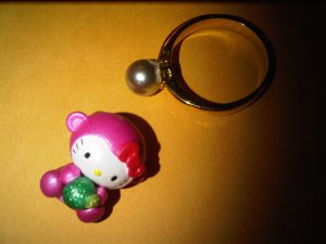 PINK MONKEY FRUIT HELLO KITTY CHARM decorative figurine collectible gift cartoon kids figure doll