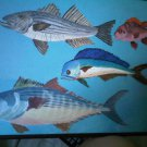 painting aqua blue fish art home decor accessory signed