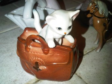 vintage antique cat in bag JAPAN figurine decorative collectible home