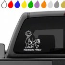 WHITE CAR DECAL making my family accessory sticker stick figure auto decor