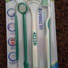 4 lot DENTAL CARE KIT pick floss mirror tongue brush toothbrush BRACES WHITENING