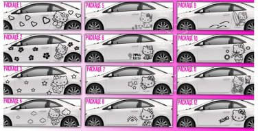 2 choice HELLO KITTY full body car decal sticker window house accessory gift fun family home decor