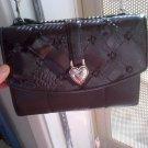 BRIGHTON BLACK LEATHER silver heart BAG HANDBAG PURSE WOMEN'S CLOTHES ACCESSORY