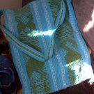 south american woven knitted side bag large green blue aqua canvas women's accessory