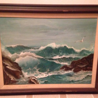 C Ocean beach wave art funk decorative collectible painting home decor