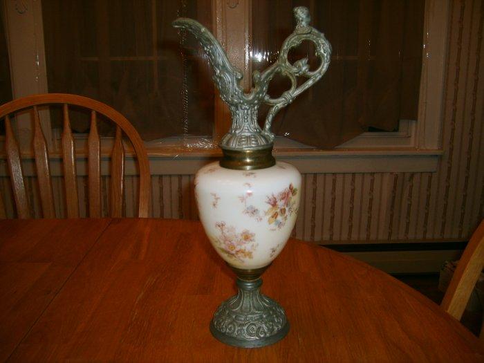 Antique Victorian Ewer Urn with Ornate Base & Handle Cherub