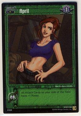 TMNT Trading Card Game - Foil Card #28 - April - Ninja Turtles