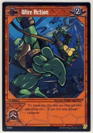 TMNT Trading Card Game - Uncommon Card #55 - Wire Action - Ninja Turtles