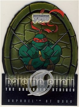 TMNT Fleer Series 2 Trading Card - Raising Shell #03 Raphael - Shredder Strikes - Ninja Turtles