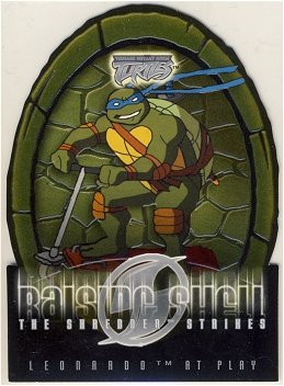 TMNT Fleer Series 2 Trading Card - Raising Shell #08 Leonardo - Shredder Strikes - Ninja Turtles