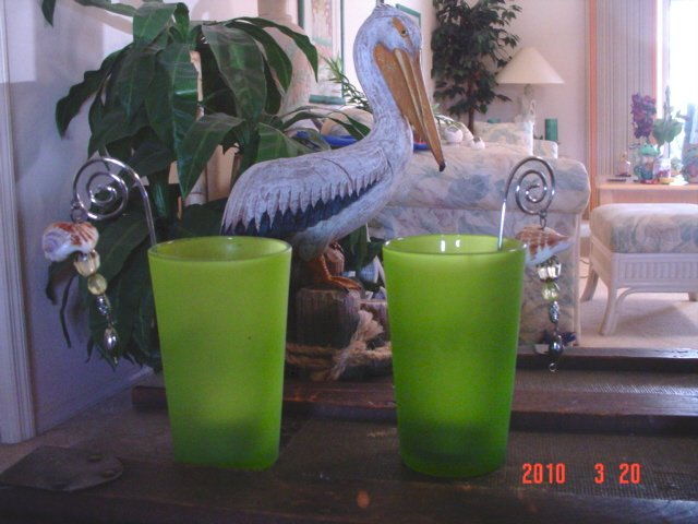Nautical Decoration Candles Green Glass Tea lights