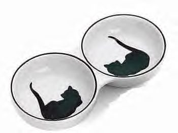 Ceramic Grecian Cat Double Dish 8.5