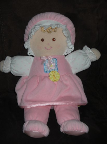 """13"""" Animal Alley Baby Doll Pink Dress Brown Hair"""