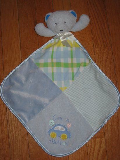 Baby Essentials Blue Bear Cute As A Button Security Blanket Lovey