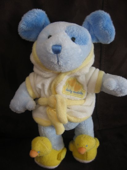 Carter's Just One Year Baby Cuddles Blue Puppy Dog in Robe with Duck Slippers