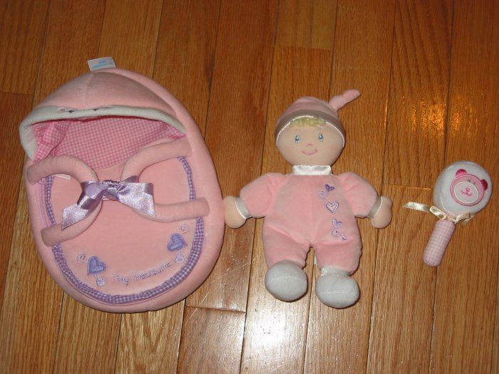 Baby Gund Tiny Treasures Pink Doll, Rattle & Carrier 58648