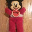 "Vintage Mickey Mouse 10"" Rubber Face Doll Wearing Bib Korea #02230997"