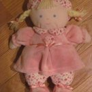 Carters Soft Pink Doll with Flowers Roses Heart Dress Blonde Yarn Braids Blue Eyes