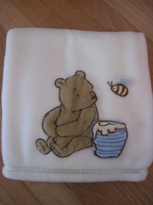 Classic Winnie the Pooh Cream Ivory Fleece Baby Blanket  Pooh with Honey Pot & Bee