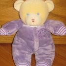 "Fiesta 10"" Plush Baby Teddy Bear with Purple Pajamas Rattle"
