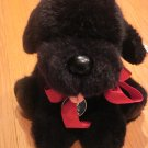 Vintage 1985 Dakin Pillow Soft Collection Black Pepper Puppy Dog Red Ribbon