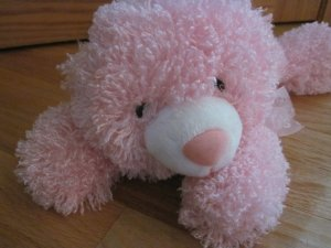 Kellytoy Pink Curly Hair Laying Teddy Bear It's a girl Bow Cloud Fleece Feet