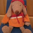 Bath & Body Works Plush Puppy Dog named Barker wearing Orange with Red Hoodie Fleece & Hat