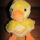 Carters Plush Quacking Duck Crib Pull Toy Yellow & Orange Stripes