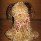 Gund Beige & Brown Plush Puppy Dog # 45558 with Plaid Bow