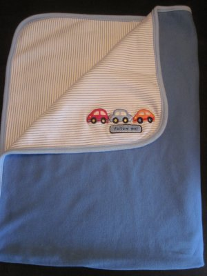 Carters Just One Year Baby Boy Blue Blanket Follow Me Cars Stripes