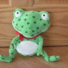 Hallmark Romeo Ribbit Green Frog with Hearts Cream Tummy Red Bow Valentines Plush