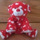 Ty Pluffies Dreamly Red and White Heart Bear Tylux 2008