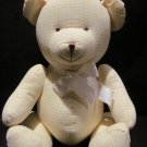 Carter's Yellow & White Gingham Print Stuffed Teddy Bear Plush Rattle