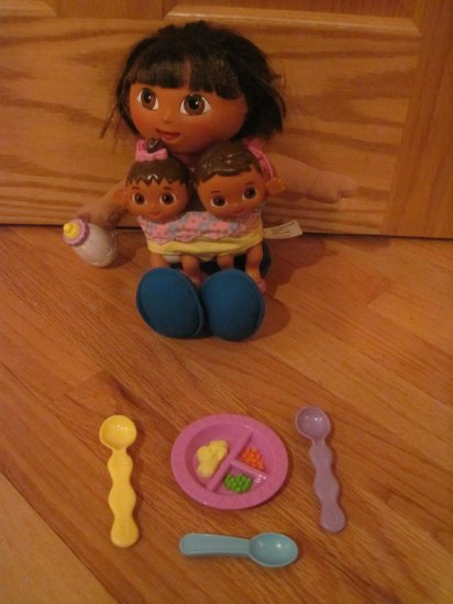 Fisher Price Big Sister Dora the Explorer Doll Set with Twins & Dishes