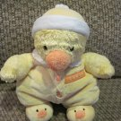 Carters Plush Duck Soft Baby Rattle Toy Doll  Wearing I Love You Pajamas Hat & Duck Slippers