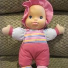 Goldberger Plush Kisses Baby Doll Pink Stripe Outfit Talking Smooch I Love You