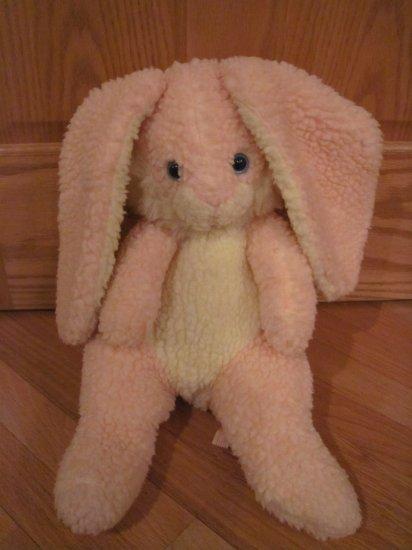 Vintage Animal Fair Plush Stuffed Pink & White Cream Bunny Rabbit