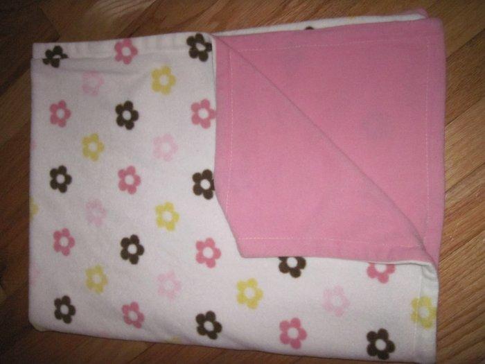 Dwell Studio Target Pink & Cream Micro Fleece Floral Baby Blanket Flowers FLAW