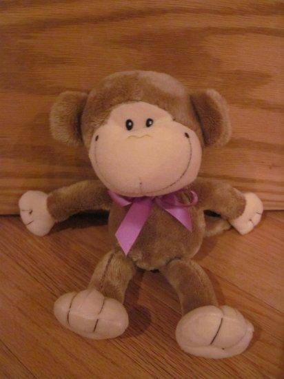 Galerie Plush 11 Inch Brown Monkey with Purple Satin Ribbon Target