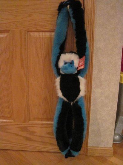 "Fiesta 27"" Plush Black, Blue & White Hanging Hugging Monkey Velcro Hands & Feet Item # C40323"