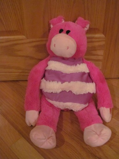 Mushabelly Pink Plush Striped Moshi Pig Named Zoe Oinks Chatters Honk inside Belly
